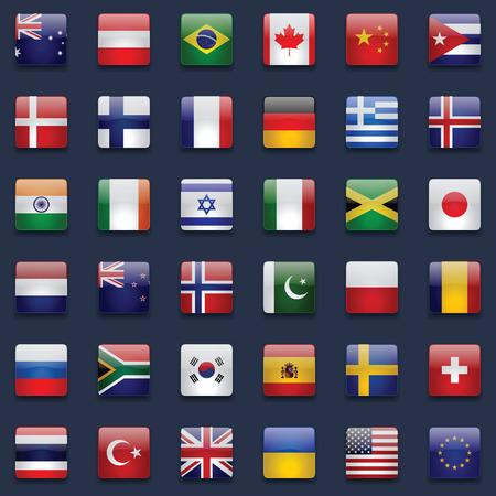 banderas del mundo: Indicadores del mundo de vectores de recogida. 36 iconos cuadrados brillante de alta calidad. Esquema de color correcta. Ideal para los fondos oscuros.