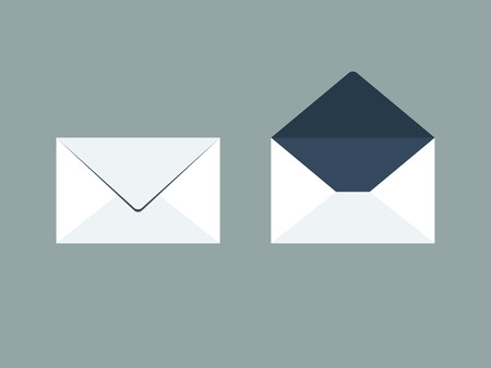 open: Flat design vector email concept icons for web and mobile apps Illustration
