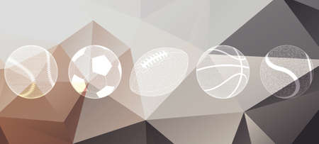 fastpitch: Sports balls vector icon set. 5 high quality transparent icons on abstract polygonal background. Illustration