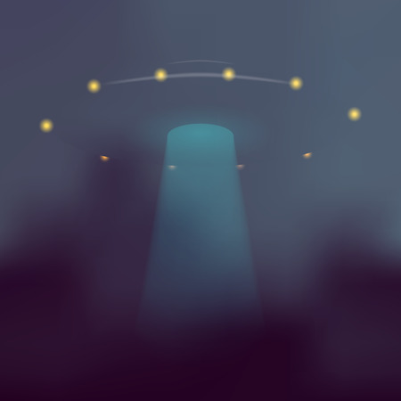 unidentified: Vector UFO with blue light beam. Flying saucer on dark abstract background.
