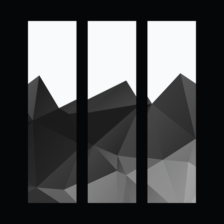 Vector polygonal dark black and white vertical banners