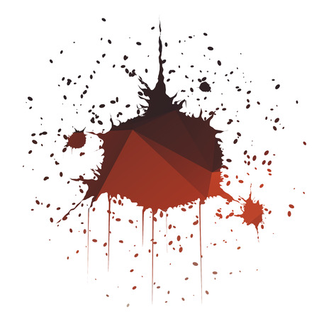 paint drop: Dark red dome-shaped ink splatter isolated on white background