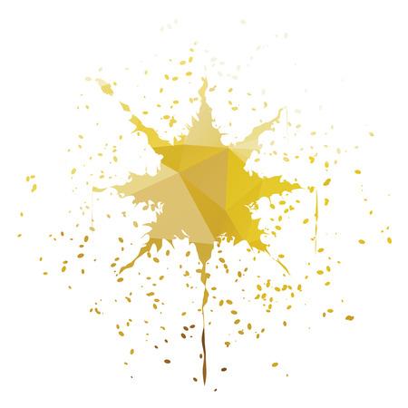 ink splatter: Golden yellow star-shaped ink splatter isolated on white background Illustration