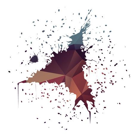 ink illustration: Stylish dark blue red gradient triangle-shaped ink splatter isolated on white background