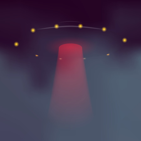 flying saucer: UFO with dramatic red light beam. Vector alien flying saucer on dark abstract background. Illustration