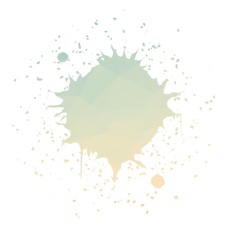 ink splatter: Round green orange ink splatter isolated on white background