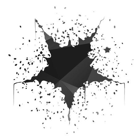 Dark black star-shaped ink splatter isolated on white background