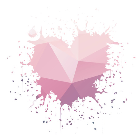 heartshaped: Heart-shaped pink ink splatter isolated on white background Illustration