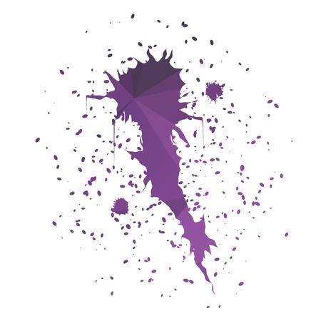 ink splatter: Stylish purple comet-shaped ink splatter isolated on white background Illustration
