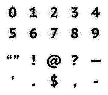 hyphen: Elegante nero grunge inchiostro vettore font maiuscolo. Cifre e segni di punteggiatura. Le virgolette, punto esclamativo, commerciali a, punto interrogativo, cruscotto, apostrofo, pieno di stop, il segno del dollaro, virgola, trattino.