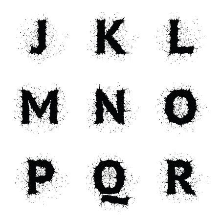 r p m: Stylish black ink grunge vector uppercase font. Letters J, K, L, M, N, O, P, Q, R.