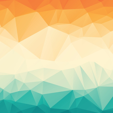 and turquoise: Stylish colorful orange blue gradient polygonal abstract background Illustration