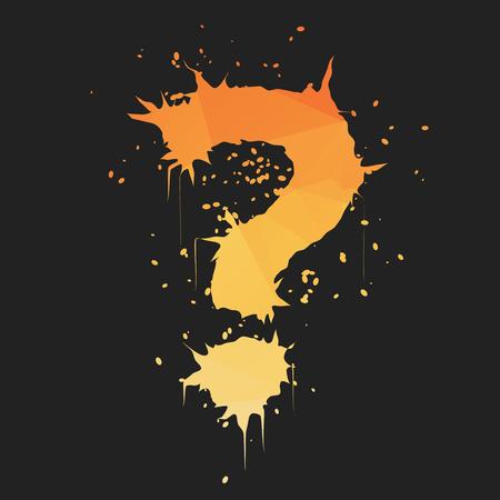 Stylish orange yellow grunge question mark shaped ink splatter on dark background