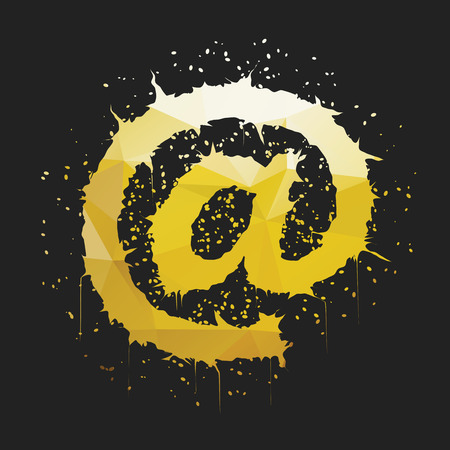 arobase: Stylish golden yellow grunge commercial at sign shaped ink splatter isolated on dark background. Arobase, asperand, ampersat, apetail symbol for your design.