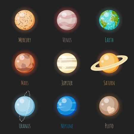 planeten: Bunte Sonnensystem-Planeten-Vektor-Symbol für dunkle Hintergründe gesetzt. Merkur, Venus, Erde, Mars, Jupiter, Saturn, Uranus, Neptun und Pluto, der Zwergplanet.