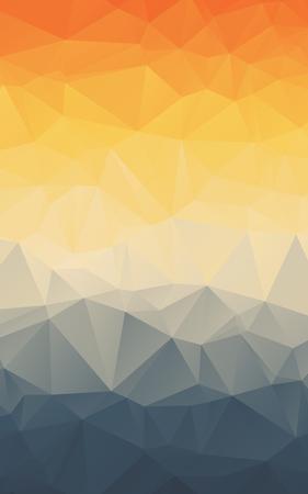 Stijlvolle oranje blauw kleurverloop veelhoekig verticale vector