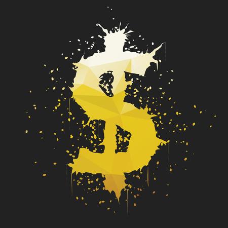 dollar symbol: Stylish golden yellow grunge dollar sign shaped ink splatter on dark background