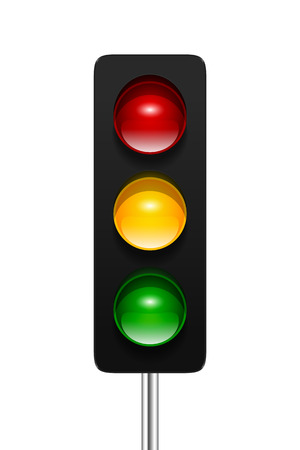 Stylish modern vector traffic signal with three aspects isolated on white background. Traffic lights icon for your design. Stock Illustratie