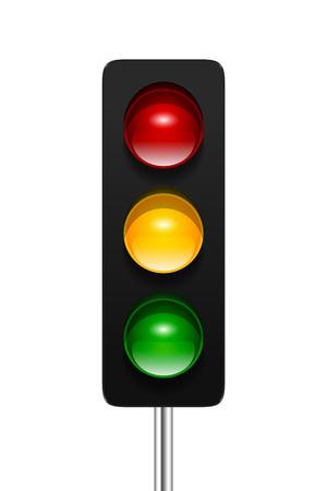 Stijlvolle, moderne vector verkeerslicht met drie aspecten op een witte achtergrond. Verkeerslichten pictogram voor uw ontwerp. Stock Illustratie