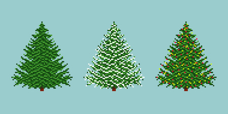 arbre     ? � feuillage persistant: Pixel spruces vector icon set. Evergreen tree, snow covered spruce and Christmas tree. Illustration
