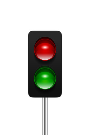 aspect: Stylish modern vector dual aspect traffic signal isolated on white background. Traffic lights icon for your design.