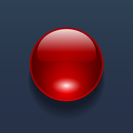 Glossy vector red button on dark blue background