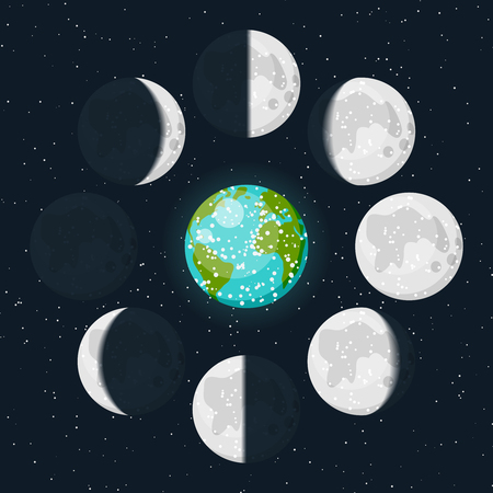 phases: Vector lunar phases icon set and colorful Earth icon on beautiful starry dark background. New moon, waxing crescent, first quarter, waxing gibbous, full moon, waning gibbous, third quarter, waning crescent illustration.