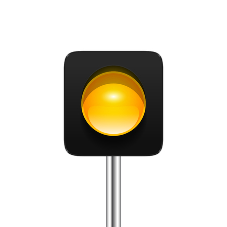 Stylish modern vector yellow single aspect traffic signal isolated on white background. Traffic light icon for your design.