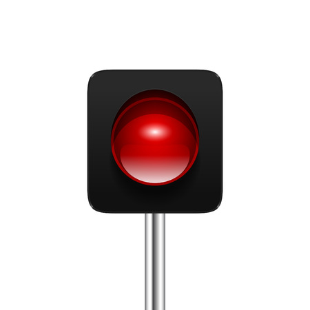 danger ahead: Stylish modern vector red single aspect traffic signal isolated on white background. Traffic light icon for your design.