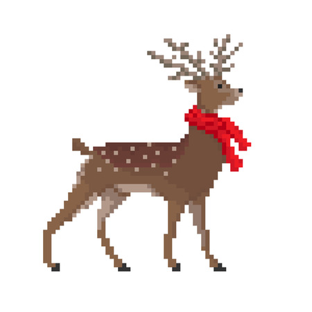 stag: Vector pixel deer in red scarf isolated on white background. Christmas illustration. Illustration