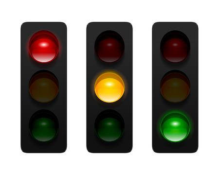 señales trafico: las señales de tráfico del vector con tres aspectos aislados sobre fondo blanco. Los semáforos conjunto de iconos para su diseño.