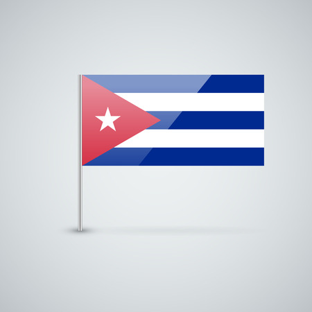cuban flag: Vector glossy icon with Cuban flag. Correct proportions and color scheme.