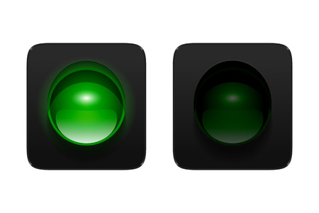turned on and off green traffic signal isolated on white background. Single aspect traffic lights icons for your design.