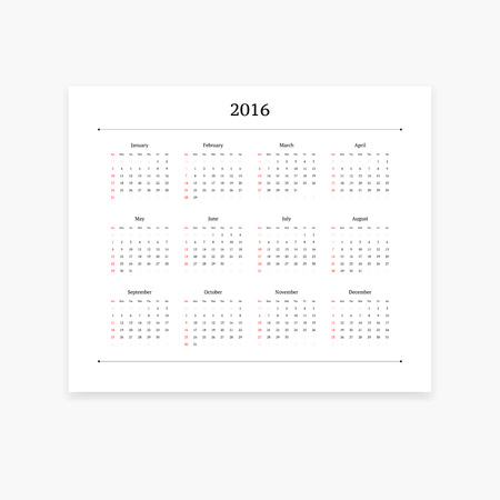 orientation: Simple and clean calendar template for 2016. Landscape orientation.