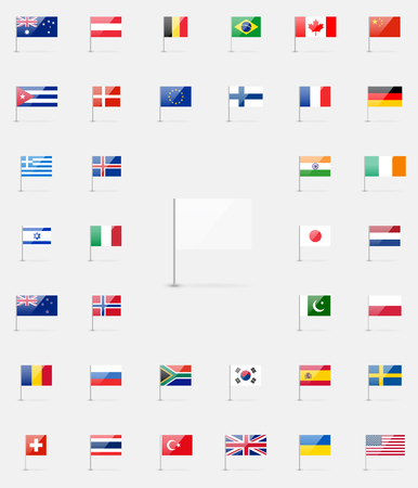 world flags collection. 37 detailed high quality glossy icons. White flag blank template.