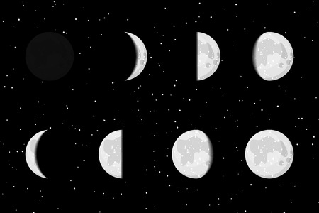 moon and stars: lunar phases icons on starry dark background.