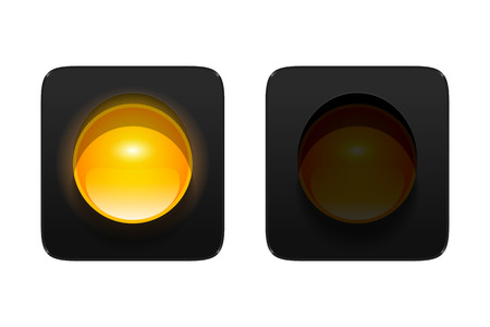 turned: turned on and off amber traffic signal isolated on white background. Single aspect traffic lights icons for your design.