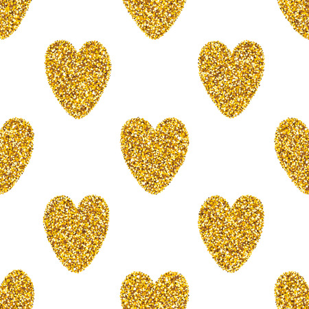 shiny hearts: seamless pattern with shiny golden glitter hearts. Valentines Day glam abstract background.