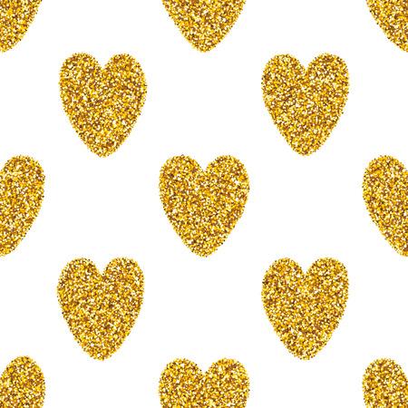 sin patr�n, con brillantes de oro corazones brillo. D�a de San Valent�n del glam fondo abstracto. Vectores