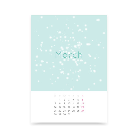 calendar page: Simple and clean March 2016 calendar page A3 template. Week starts from Monday.