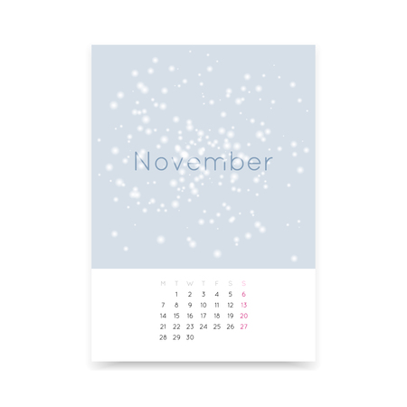 a3: Simple and clean November 2016 calendar page A3 template. Week starts from Monday. Illustration