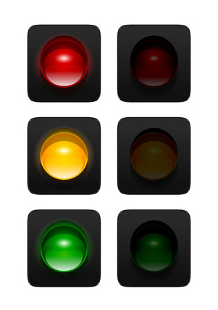 turned on and off red, amber and green traffic signals isolated on white background. Single aspect traffic lights icons for your design.