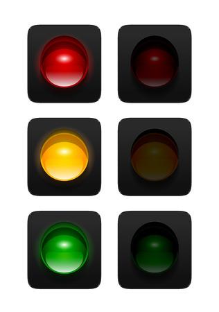 in- en uitgeschakeld rode, oranje en groene verkeerslichten op een witte achtergrond. Aspect verkeerslichten pictogrammen voor uw ontwerp.