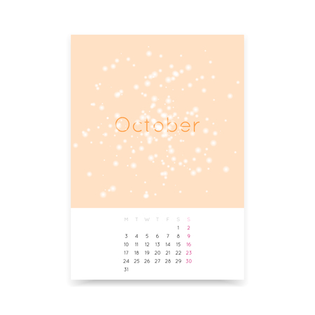 a3: Simple and clean October 2016 calendar page A3 template. Week starts from Monday. Illustration