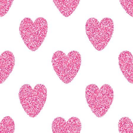 shiny hearts: seamless background with tender pink glitter hearts. Valentines Day shiny sparkling abstract background.