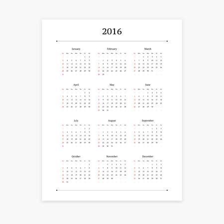 portrait orientation: Simple clean 2016 calendar vector template on white background. Portrait orientation.