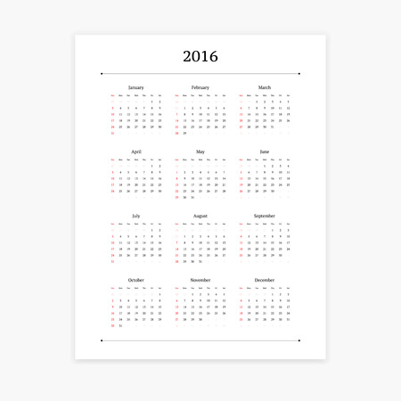 orientation: Simple clean 2016 calendar vector template on white background. Portrait orientation.