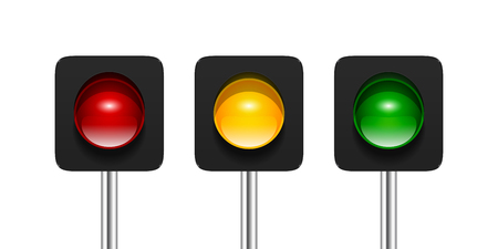 light green: Vector single aspect traffic signals isolated on white background. Red, amber and green traffic lights icons for your design.