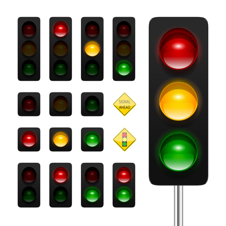 traffic lights icon set. High quality three aspects, dual aspects and single aspects traffic signals icons isolated on white background. Traffic lights ahead and signal ahead road signs. Vettoriali