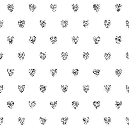 shiny hearts: Vector seamless pattern with shiny silver glitter hearts